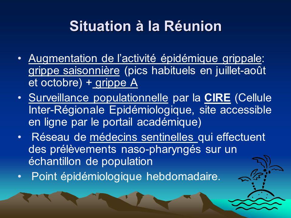 Situation à la Réunion Augmentation de lactivité épidémique grippale: grippe saisonnière (pics habituels en juillet-août et octobre) + grippe A Survei