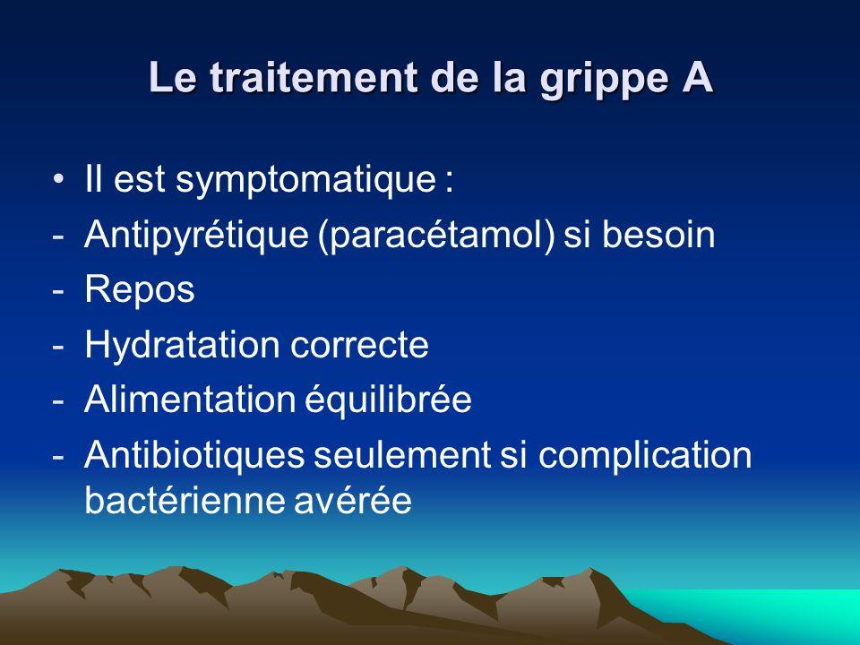 Le traitement de la grippe A Il est symptomatique : -Antipyrétique (paracétamol) si besoin -Repos -Hydratation correcte -Alimentation équilibrée -Anti