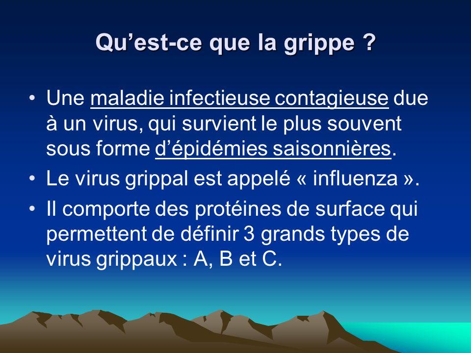 Quest-ce que la grippe ? Une maladie infectieuse contagieuse due à un virus, qui survient le plus souvent sous forme dépidémies saisonnières. Le virus