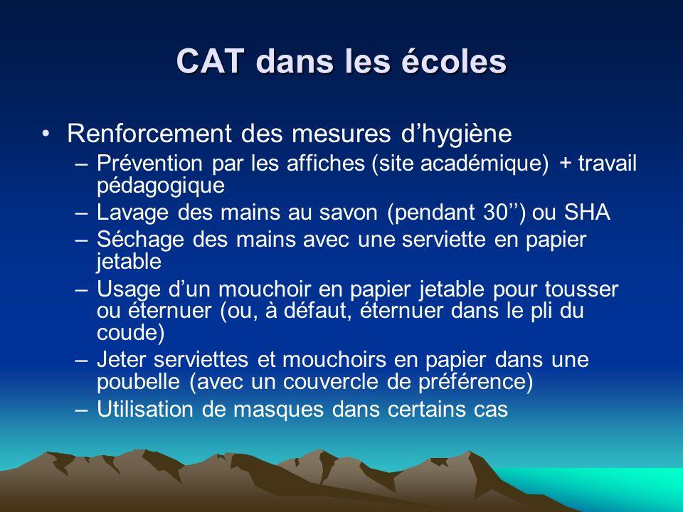 CAT dans les écoles Renforcement des mesures dhygiène –Prévention par les affiches (site académique) + travail pédagogique –Lavage des mains au savon