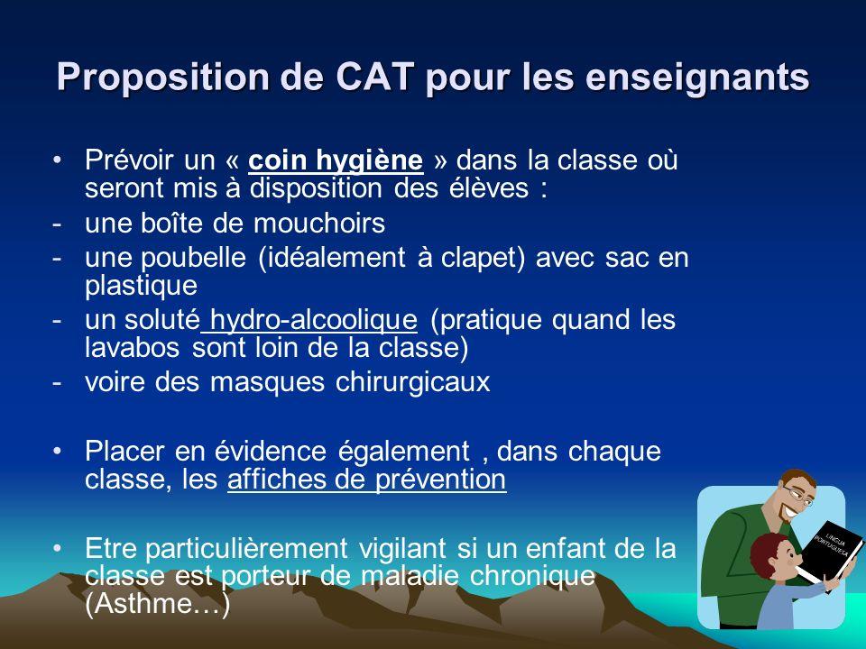 Proposition de CAT pour les enseignants Prévoir un « coin hygiène » dans la classe où seront mis à disposition des élèves : -une boîte de mouchoirs -u