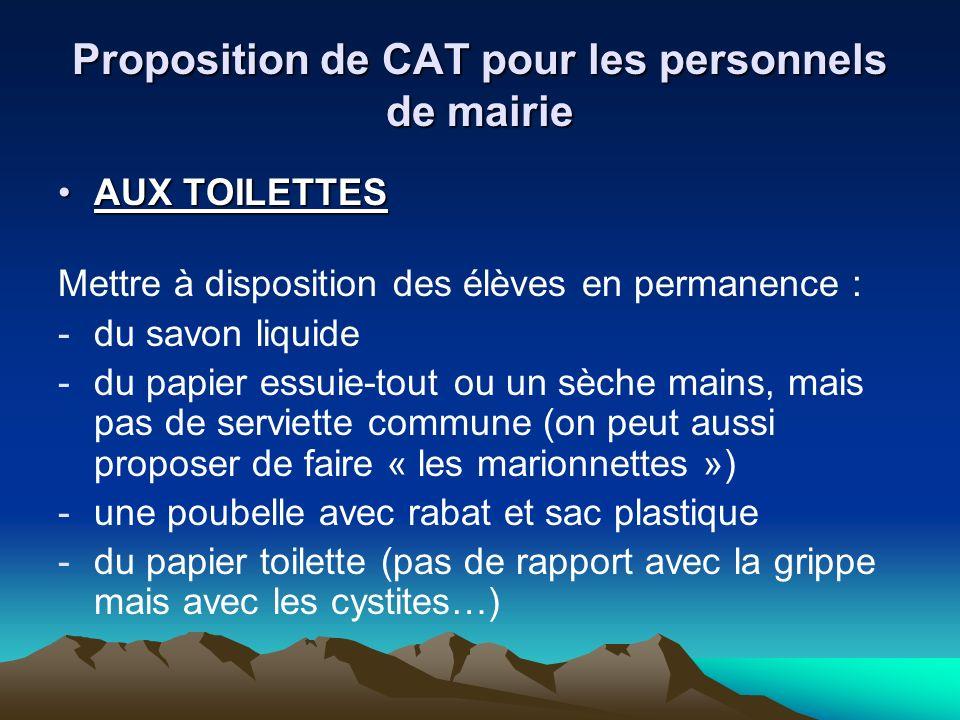 Proposition de CAT pour les personnels de mairie AUX TOILETTESAUX TOILETTES Mettre à disposition des élèves en permanence : -du savon liquide -du papi