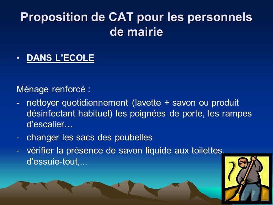 Proposition de CAT pour les personnels de mairie DANS LECOLE Ménage renforcé : -nettoyer quotidiennement (lavette + savon ou produit désinfectant habi