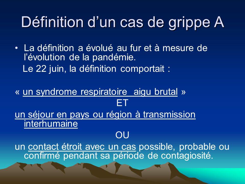 Définition dun cas de grippe A Actuellement, compte tenu de lévolution épidémiologique, la définition dun cas de grippe A(H1N1)2009 ne fait plus référence à un voyage en zone exposée ou à un contact avec un autre cas.