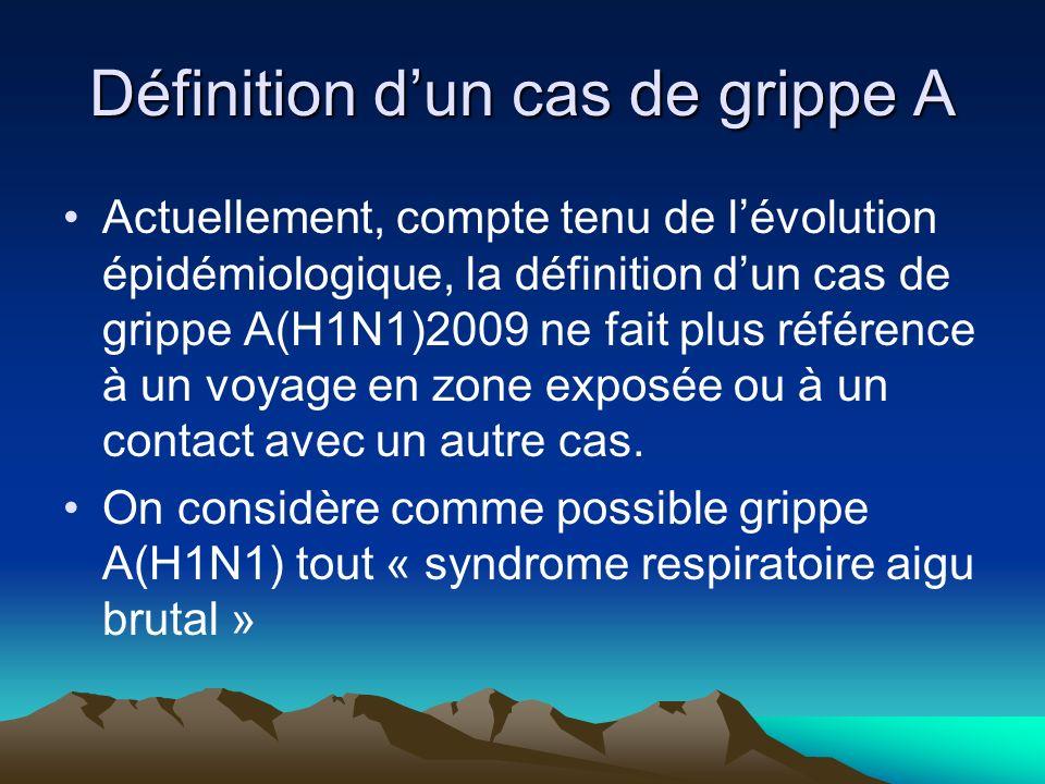Définition dun cas de grippe A Actuellement, compte tenu de lévolution épidémiologique, la définition dun cas de grippe A(H1N1)2009 ne fait plus référ