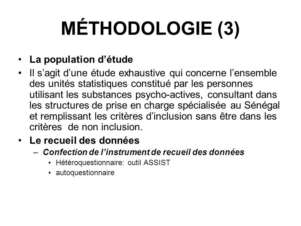 MÉTHODOLOGIE (3) La population détude Il sagit dune étude exhaustive qui concerne lensemble des unités statistiques constitué par les personnes utilis