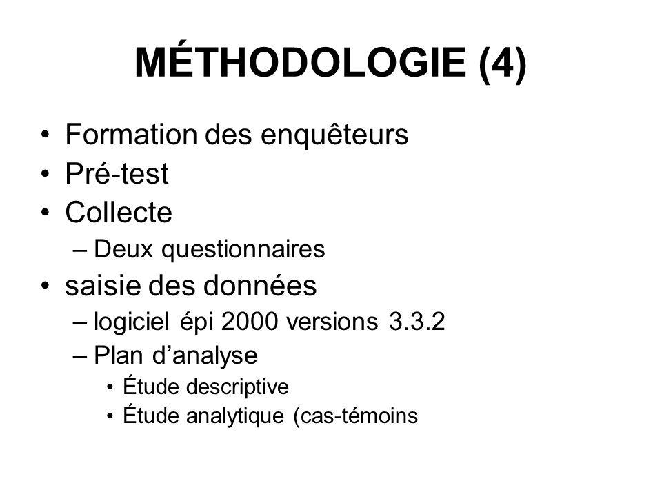 MÉTHODOLOGIE (4) Formation des enquêteurs Pré-test Collecte –Deux questionnaires saisie des données –logiciel épi 2000 versions 3.3.2 –Plan danalyse É