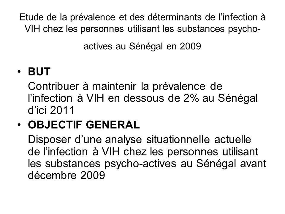 Etude de la prévalence et des déterminants de linfection à VIH chez les personnes utilisant les substances psycho- actives au Sénégal en 2009 BUT Cont