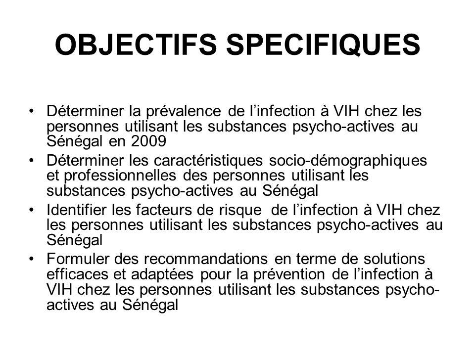 OBJECTIFS SPECIFIQUES Déterminer la prévalence de linfection à VIH chez les personnes utilisant les substances psycho-actives au Sénégal en 2009 Déter