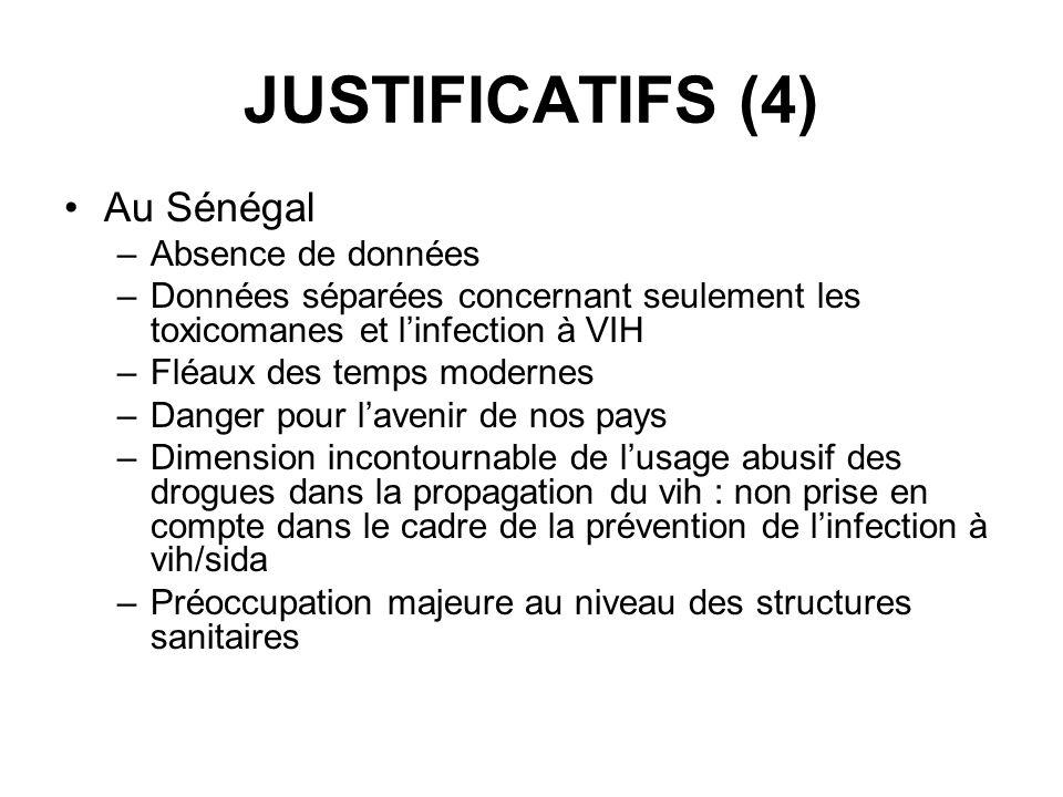 JUSTIFICATIFS (4) Au Sénégal –Absence de données –Données séparées concernant seulement les toxicomanes et linfection à VIH –Fléaux des temps modernes