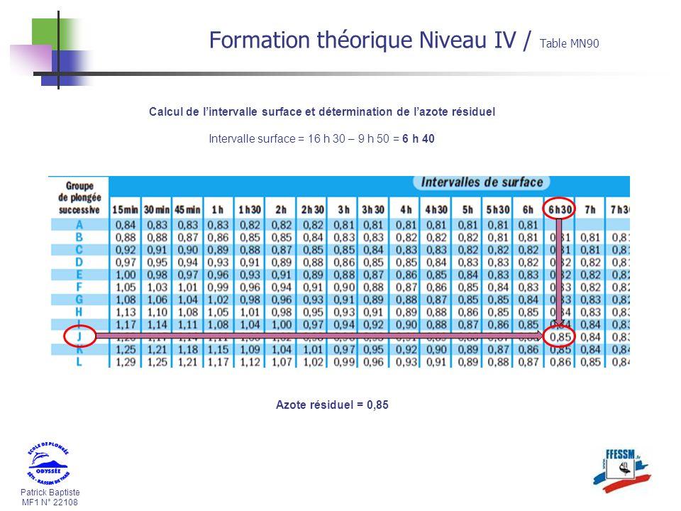 Patrick Baptiste MF1 N° 22108 Calcul de lintervalle surface et détermination de lazote résiduel Intervalle surface = 16 h 30 – 9 h 50 = 6 h 40 Formation théorique Niveau IV / Table MN90 Azote résiduel = 0,85