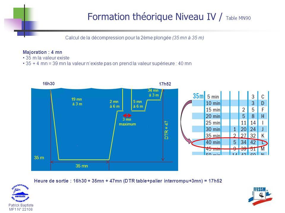 Patrick Baptiste MF1 N° 22108 Calcul de la décompression pour la 2ème plongée (35 mn à 35 m) Majoration : 4 mn 35 m la valeur existe 35 + 4 mn = 39 mn la valeur nexiste pas on prend la valeur supérieure : 40 mn 35 m 35 mn 2 mn à 6 m 19 mn à 3 m 16h30 DTR = 47 17h52 5 mn à 6 m 34 mn à 3 m 3 mn maximum Heure de sortie : 16h30 + 35mn + 47mn (DTR table+palier interrompu+3mn) = 17h52 Formation théorique Niveau IV / Table MN90