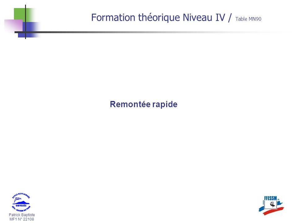 Patrick Baptiste MF1 N° 22108 Formation théorique Niveau IV / Table MN90 Remontée rapide