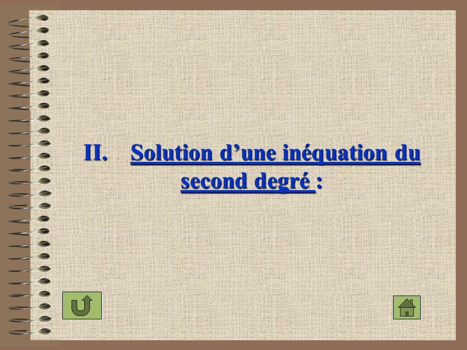 II. Solution dune inéquation du second degré :