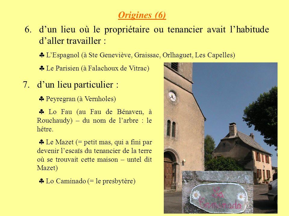 Origines (6) 6.dun lieu où le propriétaire ou tenancier avait lhabitude daller travailler : LEspagnol (à Ste Geneviève, Graissac, Orlhaguet, Les Capelles) Le Parisien (à Falachoux de Vitrac) 7.dun lieu particulier : Peyregran (à Vernholes) Lo Fau (au Fau de Bénaven, à Rouchaudy) – du nom de larbre : le hêtre.