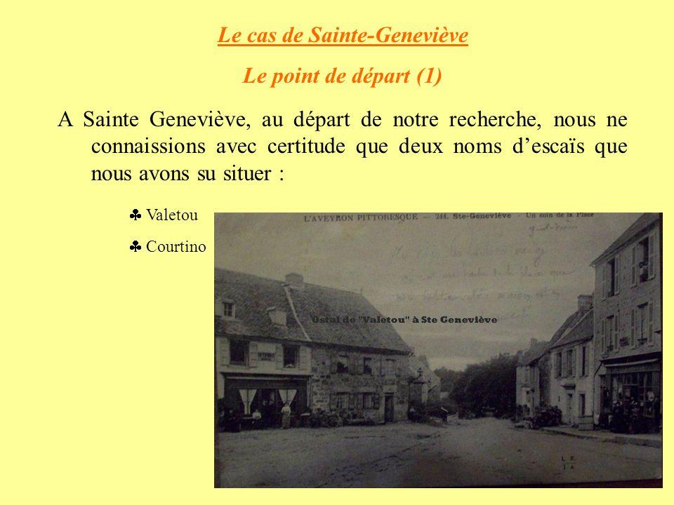 Le cas de Sainte-Geneviève Le point de départ (1) A Sainte Geneviève, au départ de notre recherche, nous ne connaissions avec certitude que deux noms descaïs que nous avons su situer : Valetou Courtino