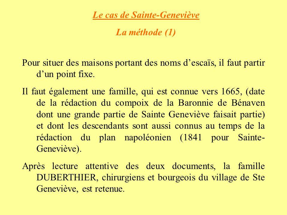 Le cas de Sainte-Geneviève La méthode (1) Pour situer des maisons portant des noms descaïs, il faut partir dun point fixe.