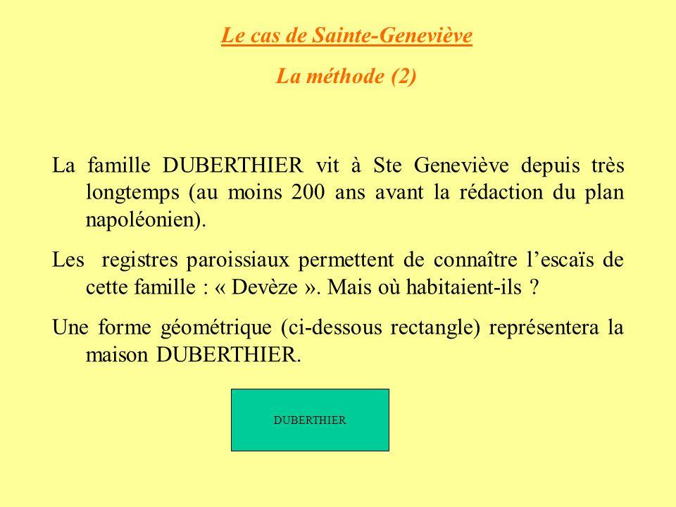 Le cas de Sainte-Geneviève La méthode (2) La famille DUBERTHIER vit à Ste Geneviève depuis très longtemps (au moins 200 ans avant la rédaction du plan napoléonien).
