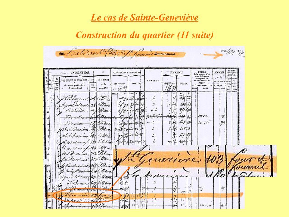 Le cas de Sainte-Geneviève Construction du quartier (11 suite)