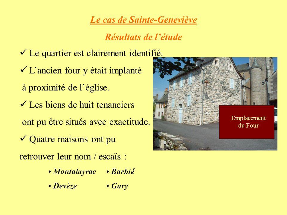 Le cas de Sainte-Geneviève Résultats de létude Le quartier est clairement identifié.