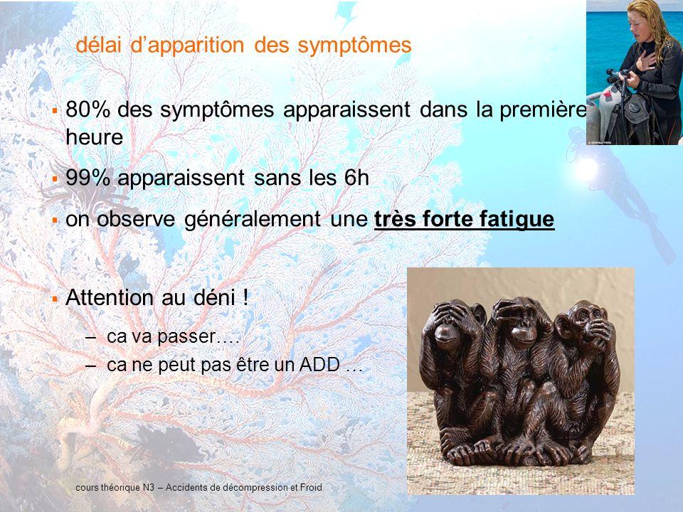 13 interne Orange délai dapparition des symptômes 80% des symptômes apparaissent dans la première heure 99% apparaissent sans les 6h on observe généralement une très forte fatigue cours théorique N3 – Accidents de décompression et Froid Attention au déni .