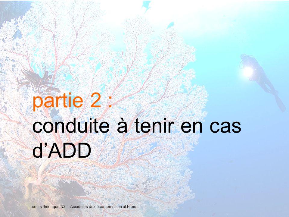 14 interne Orange partie 2 : conduite à tenir en cas dADD cours théorique N3 – Accidents de décompression et Froid