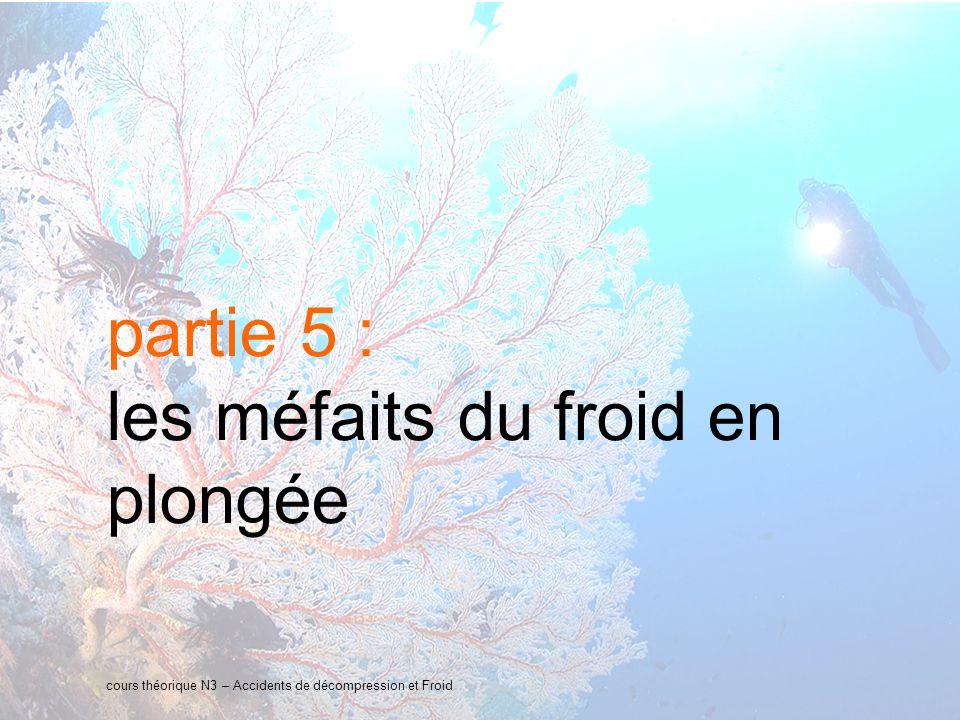 26 interne Orange partie 5 : les méfaits du froid en plongée cours théorique N3 – Accidents de décompression et Froid