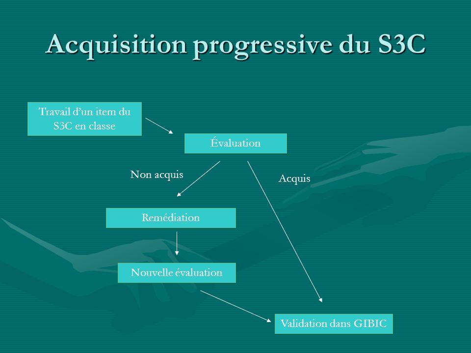 Acquisition progressive du S3C Travail dun item du S3C en classe Évaluation Non acquis Remédiation Nouvelle évaluation Validation dans GIBIC Acquis
