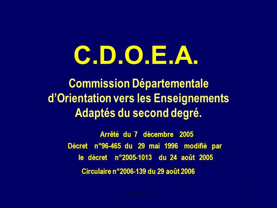 CDOEA 371 C.D.O.E.A. Commission Départementale dOrientation vers les Enseignements Adaptés du second degré. Arrêté du 7décembre 2005 Décret n°96-465du