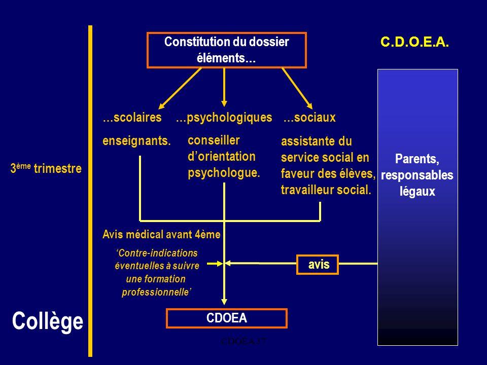 CDOEA 3711. avis Constitution du dossier éléments… …psychologiques…sociaux…scolaires CDOEA conseiller dorientation psychologue. assistante du service