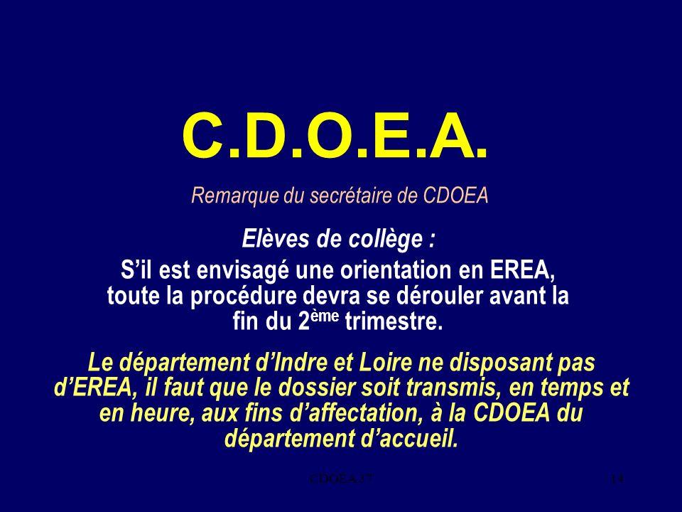 CDOEA 3714 C.D.O.E.A. Elèves de collège : Sil est envisagé une orientation en EREA, toute la procédure devra se dérouler avant la fin du 2 ème trimest