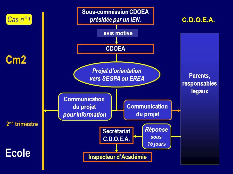 CDOEA 375. Sous-commission CDOEA présidée par un IEN. CDOEA avis motivé Projet dorientation vers SEGPA ou EREA Communication du projet Secrétariat C.D