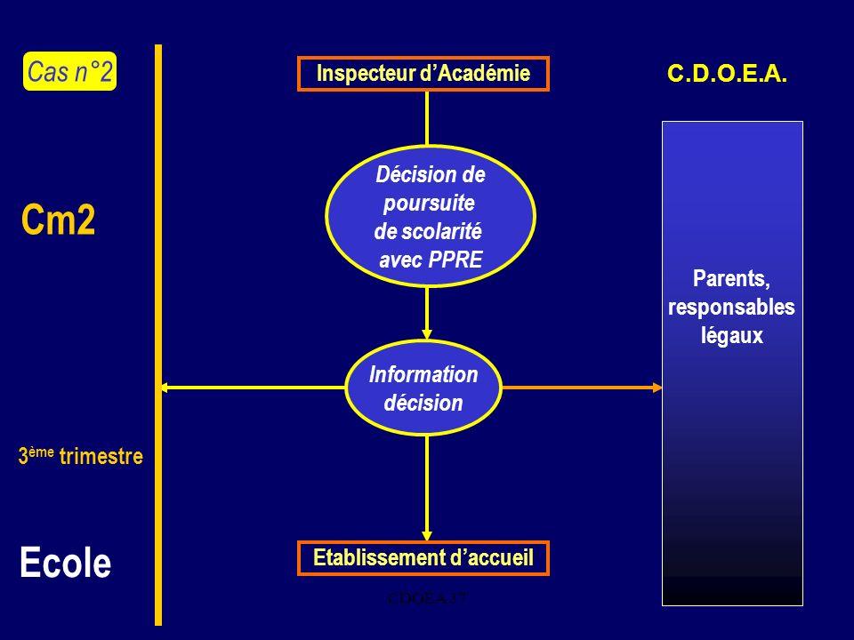 CDOEA 378. Inspecteur dAcadémie Décision de poursuite de scolarité avec PPRE Cas n°2 Cm2 3 ème trimestre Ecole C.D.O.E.A. Parents, responsables légaux