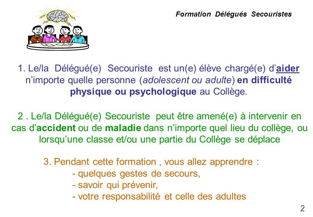 Formation Délégués Secouristes 1. Le/la Délégué(e) Secouriste est un(e) élève chargé(e) daider nimporte quelle personne (adolescent ou adulte) en diff
