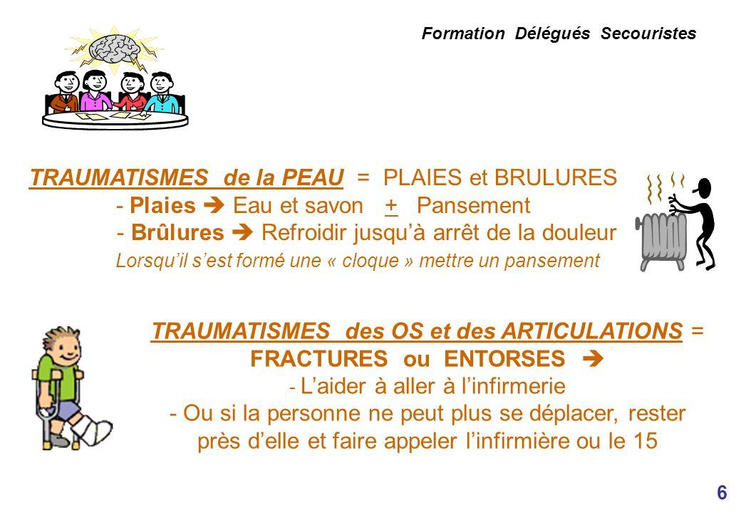Formation Délégués Secouristes TRAUMATISMES de la PEAU = PLAIES et BRULURES - Plaies Eau et savon + Pansement - Brûlures Refroidir jusquà arrêt de la