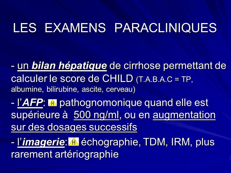 LES EXAMENS PARACLINIQUES LES EXAMENS PARACLINIQUES - un bilan hépatique de cirrhose permettant de calculer le score de CHILD (T.A.B.A.C = TP, albumine, bilirubine, ascite, cerveau) - lAFP: pathognomonique quand elle est supérieure à 500 ng/ml, ou en augmentation sur des dosages successifs - limagerie: échographie, TDM, IRM, plus rarement artériographie