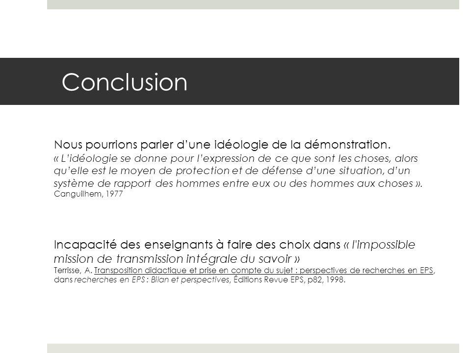 Conclusion Incapacité des enseignants à faire des choix dans « l impossible mission de transmission intégrale du savoir » Terrisse, A.