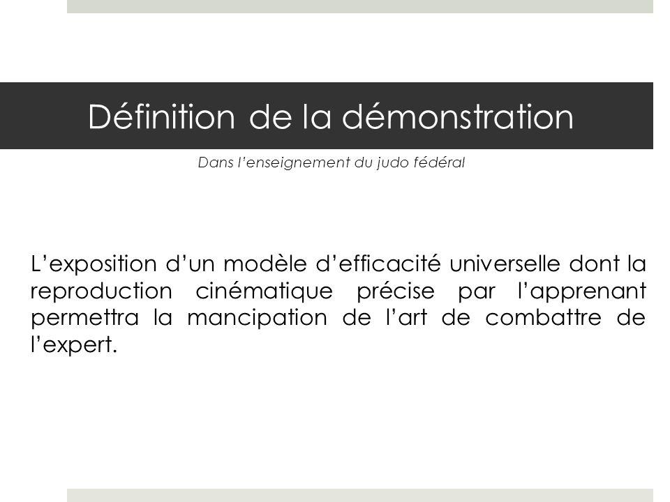 Définition de la démonstration Lexposition dun modèle defficacité universelle dont la reproduction cinématique précise par lapprenant permettra la mancipation de lart de combattre de lexpert.