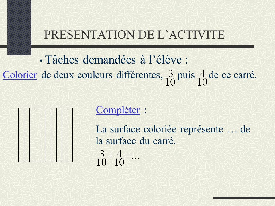 PRESENTATION DE LACTIVITE Compléter : La surface coloriée représente … de la surface du carré. Tâches demandées à lélève : Colorier de deux couleurs d