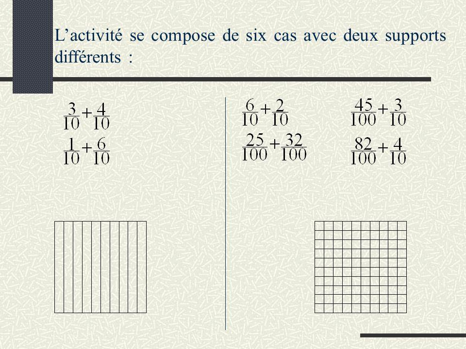 Lactivité se compose de six cas avec deux supports différents :