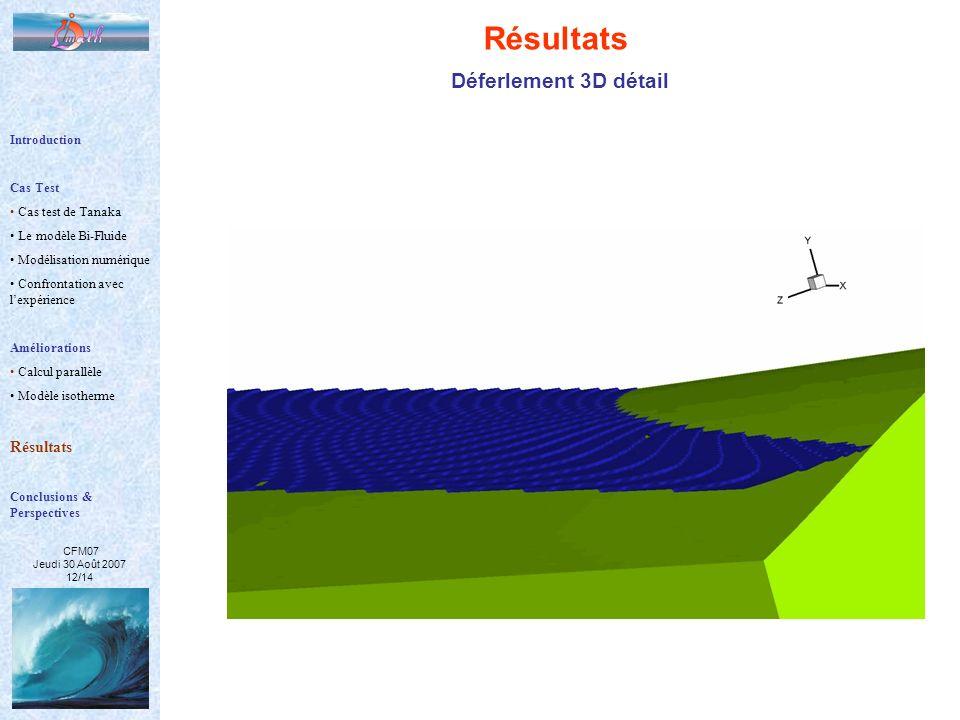 CFM07 Jeudi 30 Août 2007 12/14 Résultats Déferlement 3D détail Introduction Cas Test Cas test de Tanaka Le modèle Bi-Fluide Modélisation numérique Con