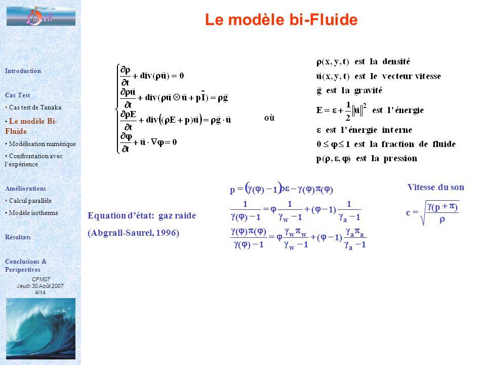 CFM07 Jeudi 30 Août 2007 4/14 Equation détat: gaz raide (Abgrall-Saurel, 1996) 1 )1( 11)( )()( 1 1 )1( 1 1 1)( 1 )()(1)(p a aa w ww aw )p( c Vitesse d