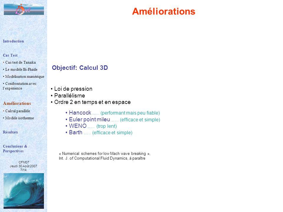 CFM07 Jeudi 30 Août 2007 7/14 Améliorations Objectif: Calcul 3D Loi de pression Parallélisme Ordre 2 en temps et en espace Hancock ….. (performant mai