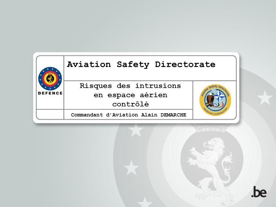 Commandant dAviation Alain DEMARCHE Licencié en sciences aéronautiques (Ecole Royale Militaire) en 1989 Ecole du Trafic Aérien militaire 1990-1991 (Adjoint) Chef de la Section Contrôle Aérien à Beauvechain, Liège- Bierset puis Florennes de 1992 à 2007 ATM Safety Expert au sein de lAviation Safety Directorate de létat- major de la Composante Air (COMOPSAIR) depuis février 2007
