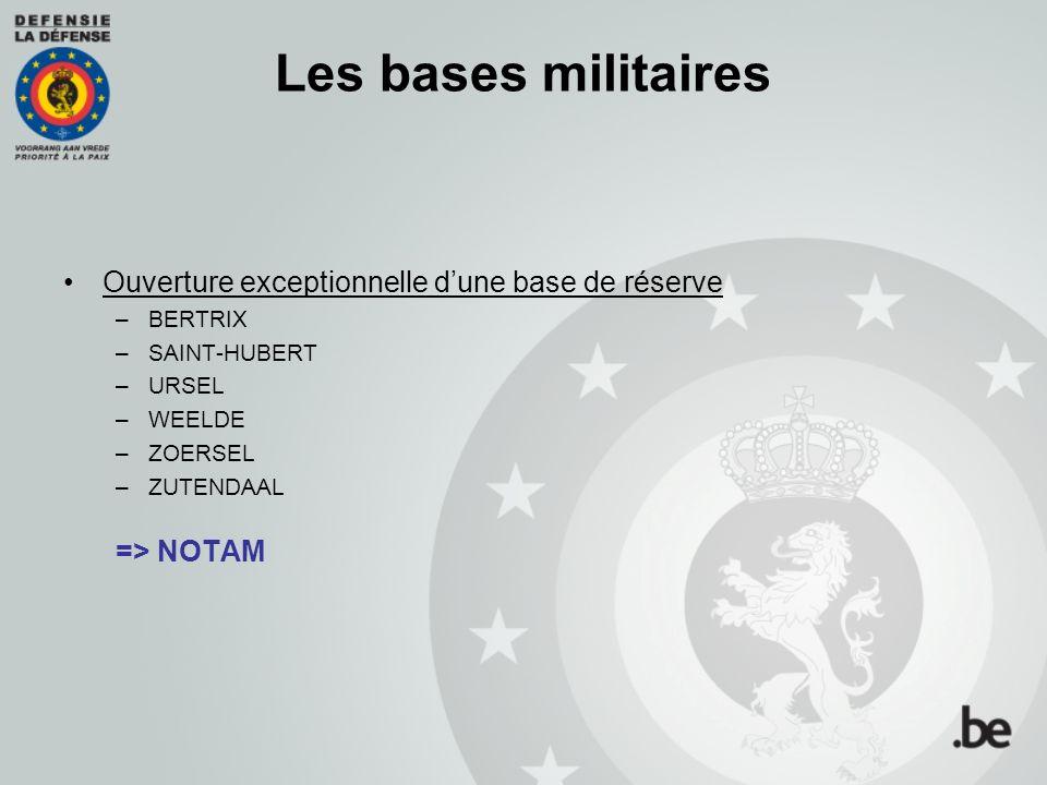 Les bases militaires Ouverture exceptionnelle dune base de réserve –BERTRIX –SAINT-HUBERT –URSEL –WEELDE –ZOERSEL –ZUTENDAAL => NOTAM