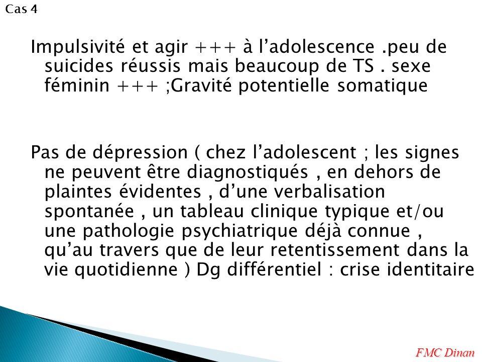 Impulsivité et agir +++ à ladolescence.peu de suicides réussis mais beaucoup de TS. sexe féminin +++ ;Gravité potentielle somatique Pas de dépression