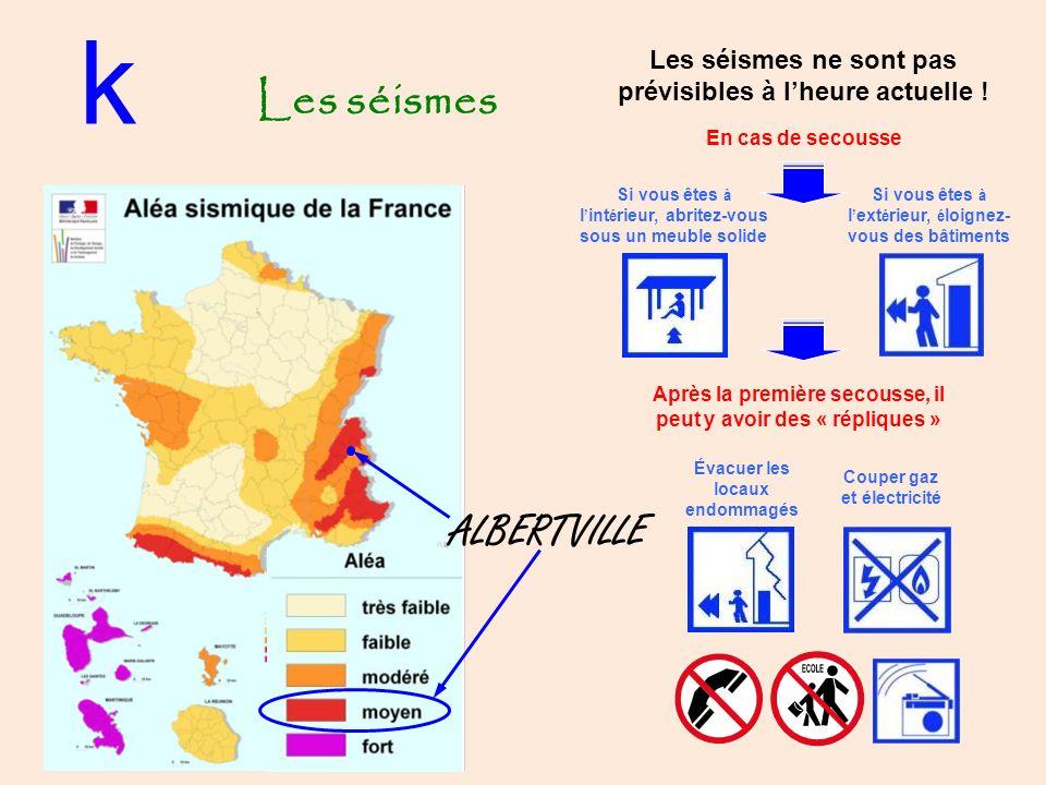 Les séismes k ALBERTVILLE Les séismes ne sont pas prévisibles à lheure actuelle .