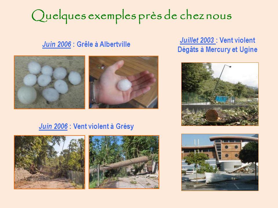 Quelques exemples près de chez nous Juin 2006 : Grêle à Albertville Juin 2006 : Vent violent à Grésy Juillet 2003 : Vent violent Dégâts à Mercury et Ugine