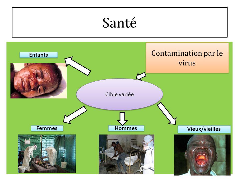 Contamination par le virus Enfants Femmes Hommes Vieux/vieilles Cible variée