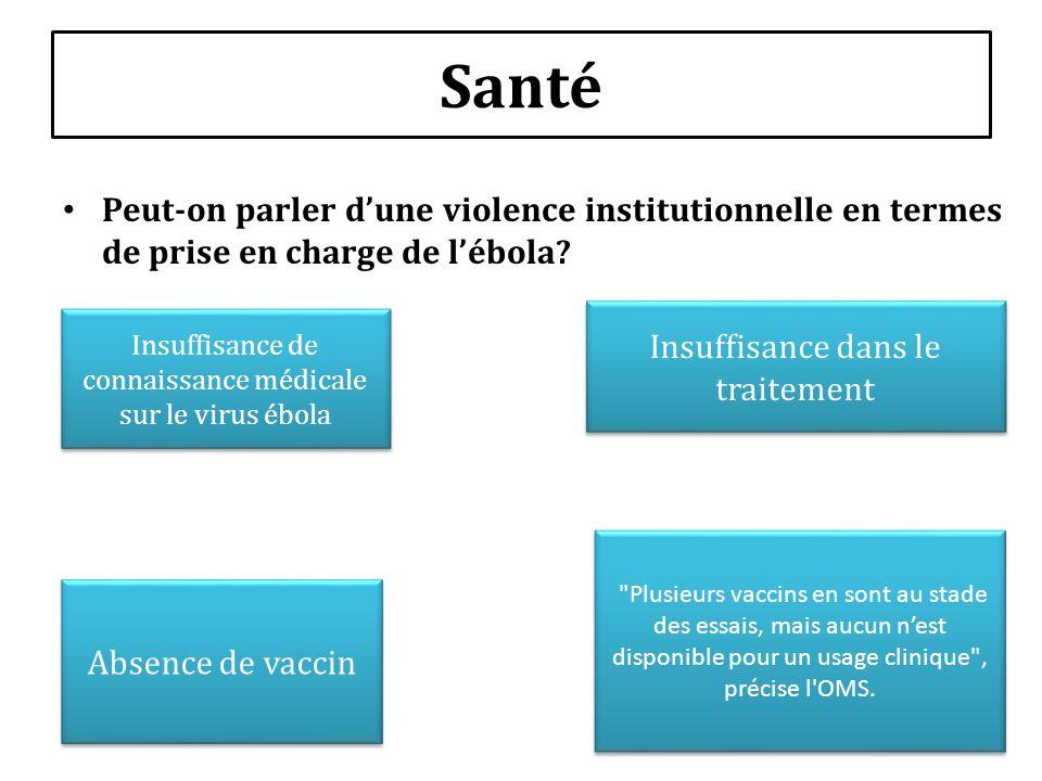 Santé Peut-on parler dune violence institutionnelle en termes de prise en charge de lébola? Insuffisance de connaissance médicale sur le virus ébola A